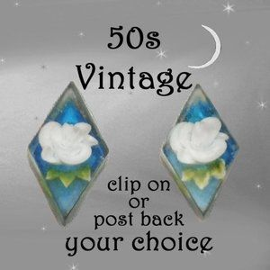 Vtg Carved Lucite Earrings Clip on or Post Back!